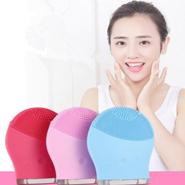 3 Colors Electric Face Cleanser Vibrate Pore Clean Silicone Cleansing Brush Massager Facial Vibration Skin Care Spa Massage 150pcs