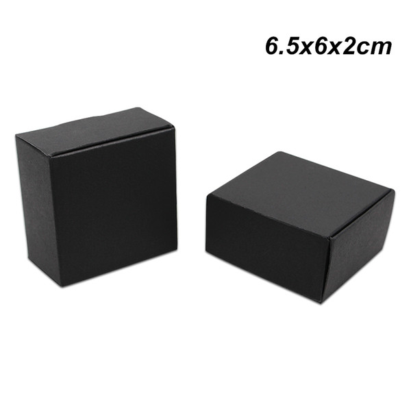 Small 6.5x6x2cm 50 Pack Black Kraft Paper Gifts Packaging Boxes for Jewelry DIY Handmade Soap Cookies Candy Baking Cakes Storage Packing Box