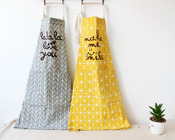 New Fashion 100% Cotton Kitchen Apron Printed Unisex Cooking Aprons Avental Dining Room Barbecue Restaurant Pocket Halterneck