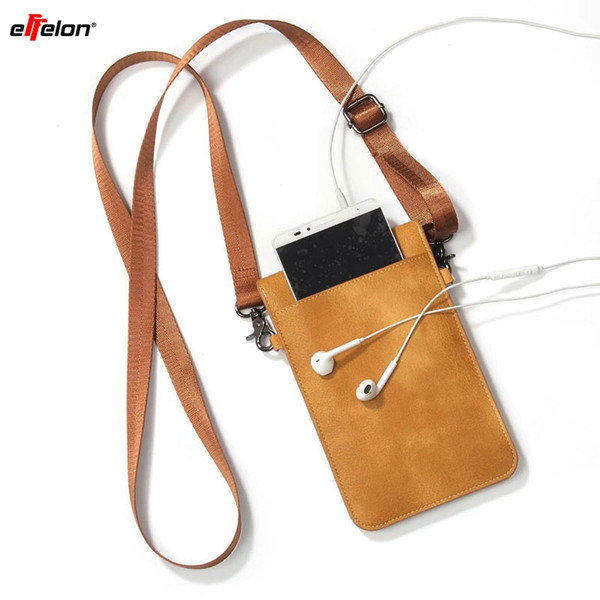 Effelon Pu Leather Universal Cell Phone Bag Shoulder Pocket Wallet Pouch Case Neck Strap For Samsung /Iphone /Huawei /Oppo