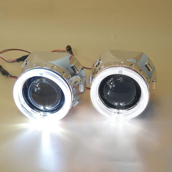 2,5 zoll bixenon projektor objektiv + maske shroud mit doppel angel eyes für auto HID Scheinwerfer scheinwerfer Projektor Objektiv für H1 H7 H4