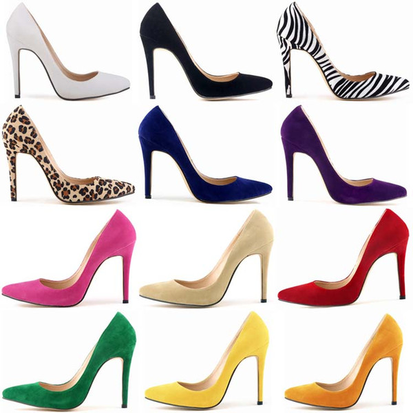 Womens Elegant Banquet Party Wedding Single Shoes Pointed Toes Shoes Graduation Girls High Heels Ladies Stilettos Heel 11 cm Colorful