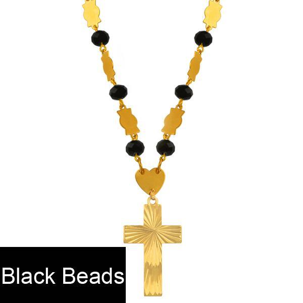 Perles noires Chaîne de 63 cm
