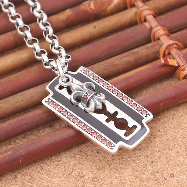 Brand 925 sterling silver vintage jewelry American & European hand-made designer antique silver blade necklace pendants with CZ hot