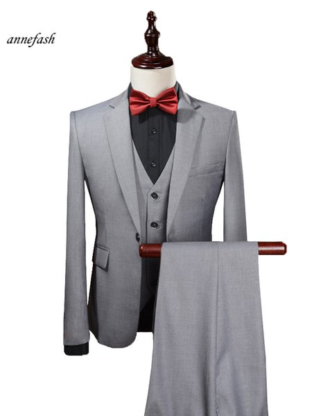 Custom Made Men light grey Suits 2017 new Wedding suit Men Slim Fit casual Suit 3pcs(jacket+pant+vest)