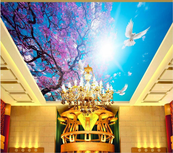 3d wall murals wallpaper for walls 3 d ceiling murals wallpaper custom photo Cherry blossom blue sky white dove sunshine home decoration