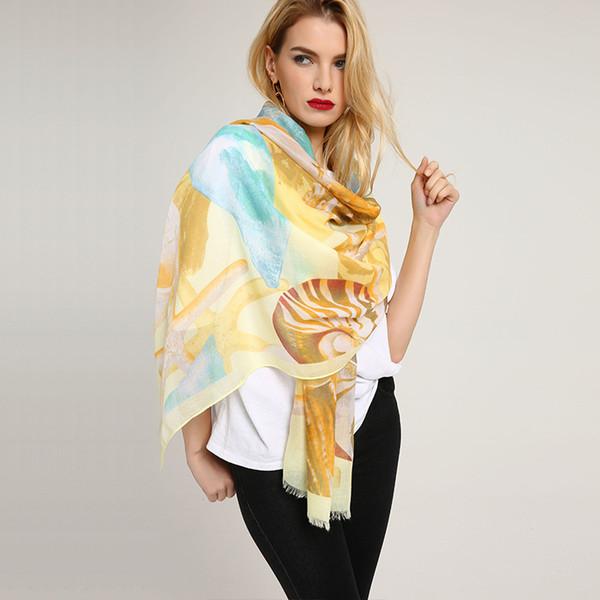 80*180cm 5 Styles Shell Pattern Polyster Designer Scarf Women Hijab Shawls Pashmina Wrap Scarf Table Blanket Beach Towel