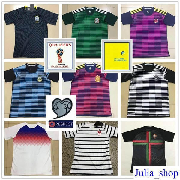 2018 World Cup Brazil France Argentina Colombia Spain England Germany Mexico Portugal Mens Customize Football Soccer Training Jersey Shirt