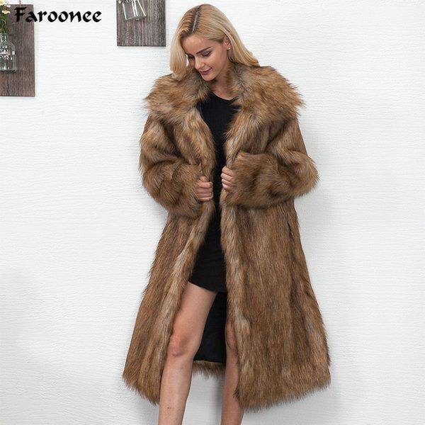 7656cd4e49b 2018 Winter Women Plus Size Faux Fur Coat Long Slim Thicken Warm Hairy Jacket  Women Fashion