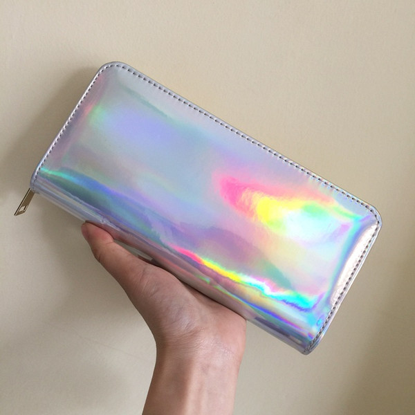 Miyahouse Litchi Pattern Lady Wallet Fashion Laser Wallet For Women Solid Color With Zipper Design Coin Purse For Female