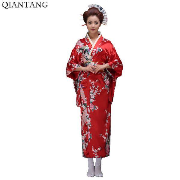 Hot Sale Red Vintage Japanese Women's Silk Satin Kimono ropa Mujeres japonesas Yukata Dress Peafowl One Size Free Shipping H0029