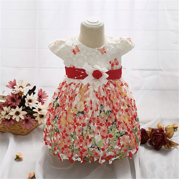 Baby Girls Dress Printed butterfly lace For Princess Party Infant Christening Dress 1 Yrs Birthday Christmas Baby Clothes