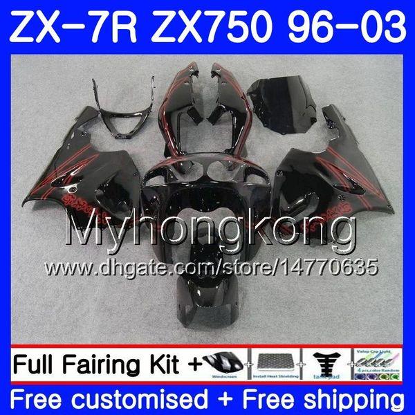 Kırmızı çizgi siyah Vücut Için KAWASAKI NINJA ZX-7R ZX750 ZX 7R 00 01 02 03 203HM.26 ZX-750 ZX 7 R ZX 750 ZX7R 1996 2000 2001 2002 2003 Fairings
