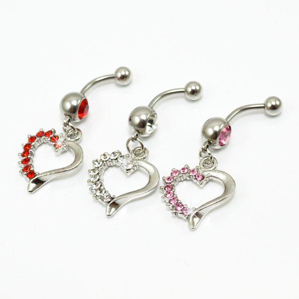 D0709 (3 cores) bom coração umbigo anel de venda a varejo anéis de umbigo piercing jóias Dangle acessórios moda charme 10 PCS