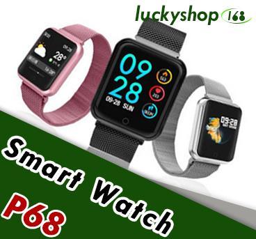 P68 Akıllı Izle Kan Basıncı Oksijen Nabız İzle Adımları Kalori Kilometre Tracker Smartwatch IP68 Su Geçirmez 1 adet