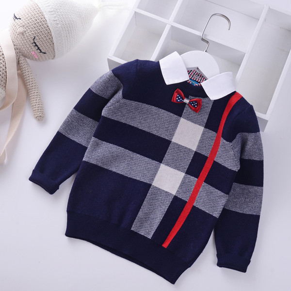 best selling 2018 Shirt collar Boys Sweaters Baby stripe Plaid Pullover Knit Kids Clothes Autumn Winter New Children Sweaters Boy Clothing
