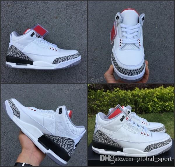 2018 Nuevo 3 III JTH NRG 3s Justin Timberlake Fire Red Cemento blanco para hombre Zapatillas de baloncesto Zapatillas deportivas AV6683-160 Hombre Tamaño de zapatos 8-13