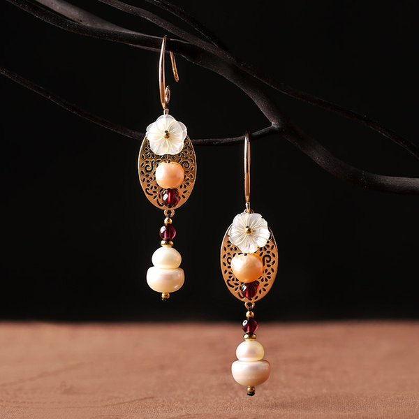 Original national style long earrings fashion pendant Pearl pendant Chinese style handmade earpiece exaggerated retro temperament