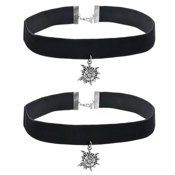 2Pcs/Set Women Korean Fashion Choker Pendant Necklaces Women's Jewelry Simple Black Edelweiss Velvet Necklace Chocker Necklace