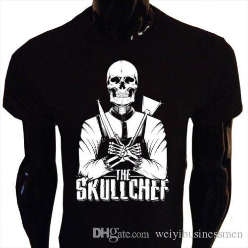 The TESCHIO CHEF T-SHIRT UOMO SCHELETRO Undead Cook rock goth punk SC1 O Neck T-Shirts Male Low Price Steampunk