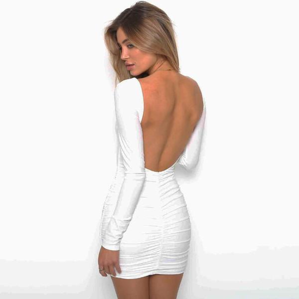 Sexy Backless Mini Party Dresses For Women Night Clubwear Slim Bodycon Dress 2018 Autumn Winter Long Sleeve Open Back Dress