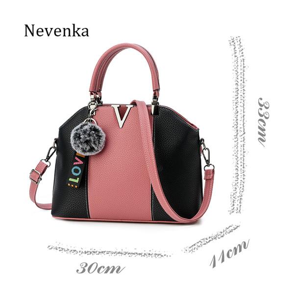 57306fef3752 NEVENKA Марка сумочка женщины шить сумка женский ни один шаблон сумки Леди  мода меховой шар украшения случайные молнии сумки