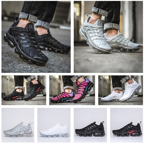 929677381 NEW 2018 TN Plus Running Shoes AIR Men and Women maxes TRIPLE BLACK Black  red Cool