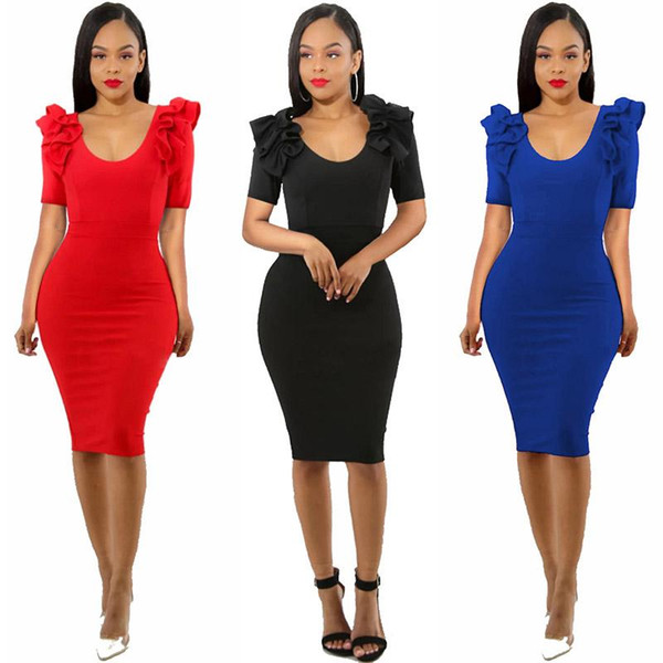 Fashion women sexy dress U-collar Lace zipper tight skirt Casual party dress ladies clothing 3 color red black blue