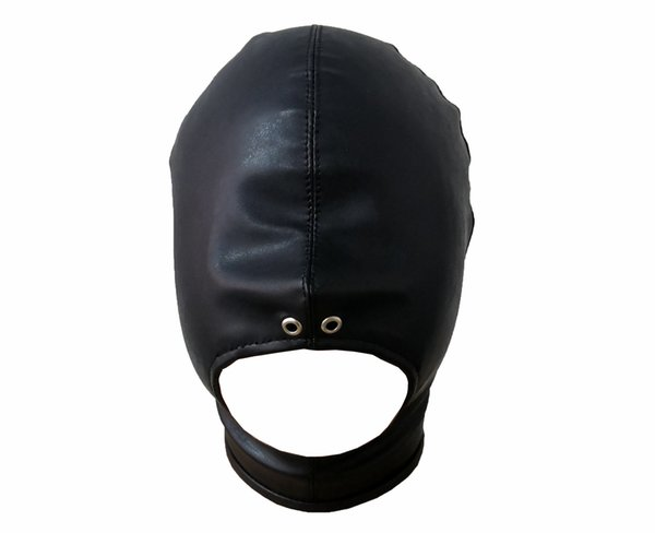Black PU leather bdsm open mouth hood head harness mask fetish gear adult products play sex toys for couple slave bondage restraints