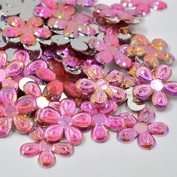 JUNAO 30mm Big Size Sewing Rose AB Flowers Acrylic Rhinestones Flatback Gems Sew On Strass Mix Color Crystal Stones for Clothes Crafts