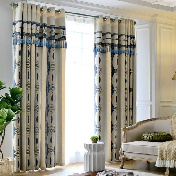 Luxury Chenille Blackout Curtain for Living Room Bedroom Geometric Pattern Window Drapes High Quality Home Decoration 3 colors
