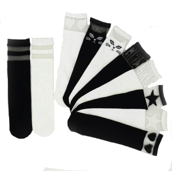 Acheter 2018 Nouveau Nouveau Mode Enfants Filles Coton Noir Blanc Dentelle Couture Au Genou Filles Mignon Dessin Animé Chat Chaussettes De 111 Du