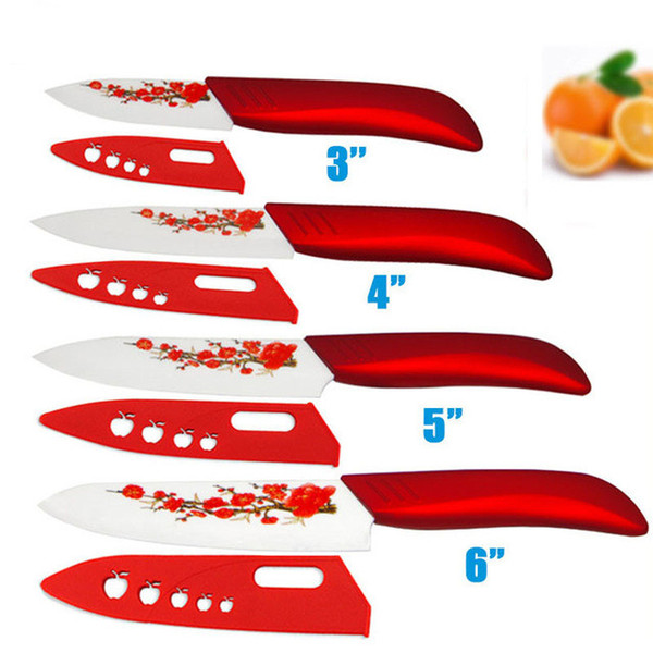 Brand High sharp quality Ceramic Knife Set tools 3 4 5 6 Kitchen Knives with red flower Dropshipping + Covers