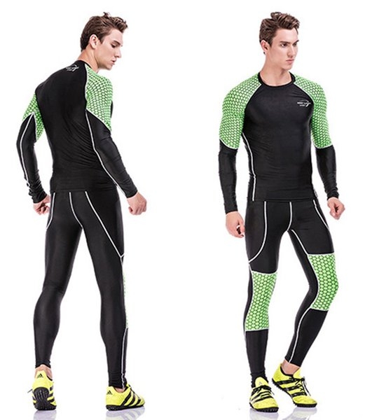 Men Gym Clothing Sport Suit 3D digital printing long sleeved T-shirt fitness Running Yoga suit sport clothes sweat quick drying sets