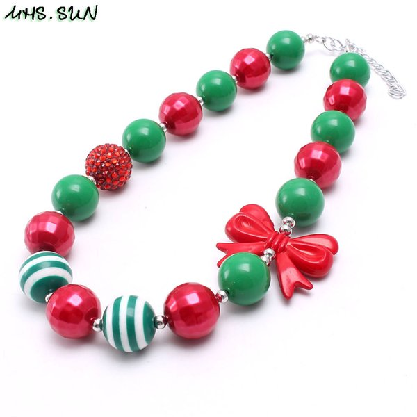 Red Bow Kid Chunky Necklace Jewelry Green+Red Color Christmas Gift Bubblegum Beads Chunky Necklace For Children Girls