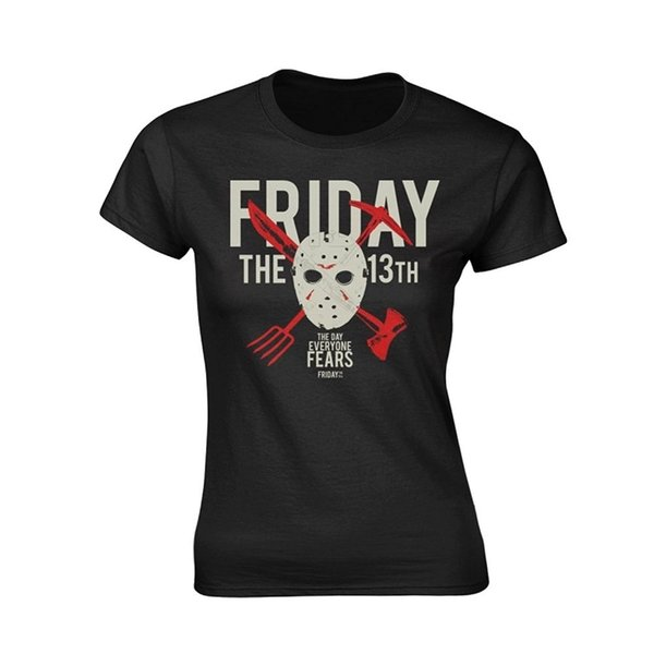 Top Tee 100% Cotton Humor Men Crewneck Tee Shirts Friday The 13Th 'Day Of Fear' Womens Fitted T-Shirt Cheap Crew Neck Men's Top