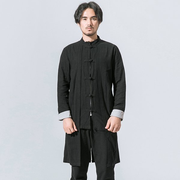 Chinese Kongfu Clothes Men Stand Collar Coon Linen Long Trench Coat Male Fashion Casual Slim Fit Cardigan Jacket