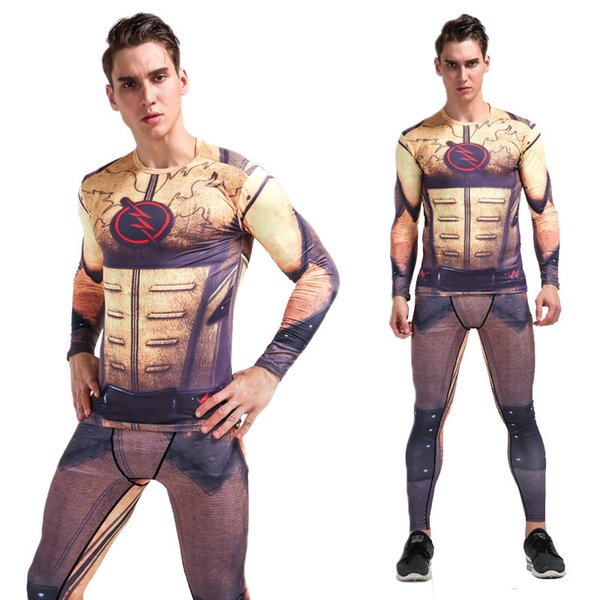 YANQIN Mens Sports Exercise Set Compression Shirt + Pants Skin-Tight Long Sleeves Fitness Training Clothes Gym Yoga Suits Plus