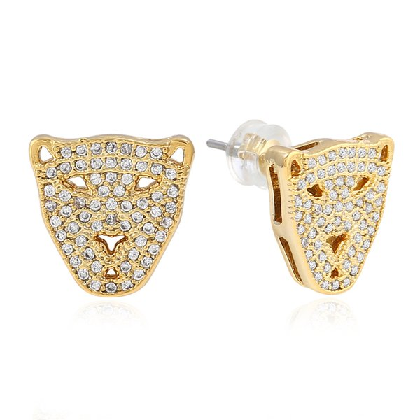Europe and America exaggerated hip-hop jewelry leopard head micro zircon men's Earrings personalized fashion animal modeling Earrings