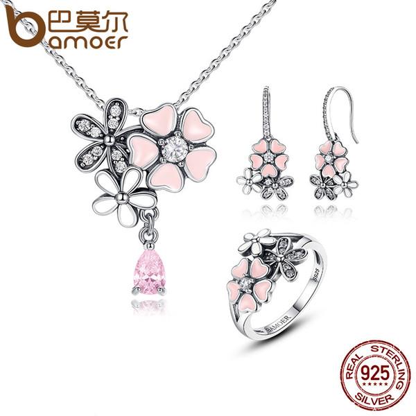 BAMOER 100% 925 Sterling Silver Pink Flower Poetic Daisy Cherry Blossom Nupcial Conjuntos de Jóias de Noivado Casamento Jóias ZHS028