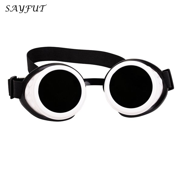 SAYFUT Men Women White Frame Goggles Steampunk Glasses Clear Glass Lens Cosplay Vintage Glasses Welding Gothic Cool Eyewear