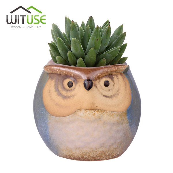 Ceramic Wituse 6x Cute Owl Face Ceramic Flower Pots Small Glazed Plant Pot For Succulents Planter Garden Home Decors Herb Vases