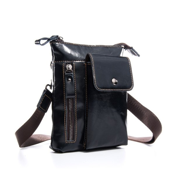 Vintage Genuine Leather Men Design Casual Messenger Crossbody Sling Bag Fashion Waist Ba Pack Leg Drop Bag Phone Pouch