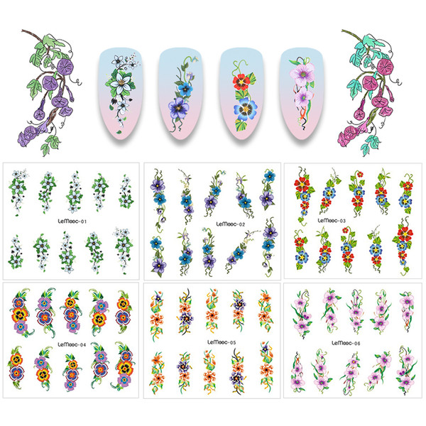 LEMOOC 1 Sheet Water Decal Nail Stickers Flower Series Design Transfer Sticker Nail Art Decoration for Manicure Watermark