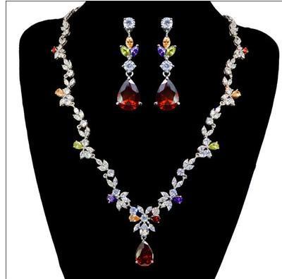 wonderful diamond crystal stone bride wedding jewelry set necklace earings (vlin123)