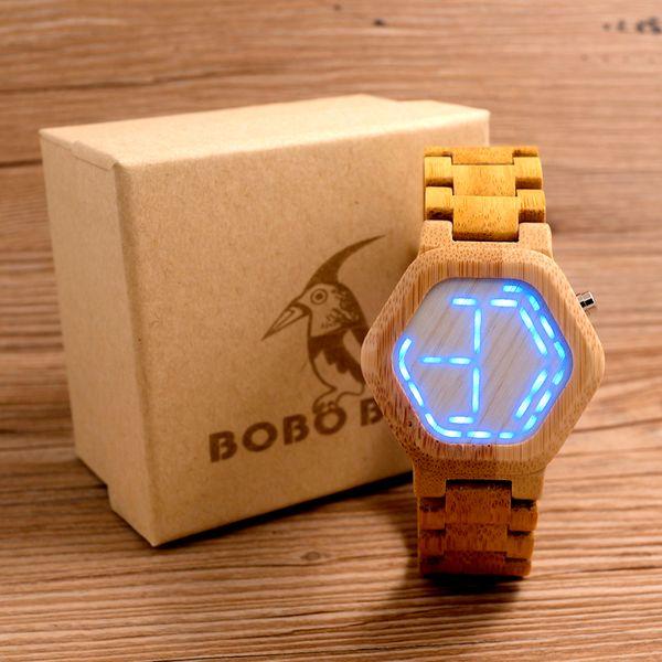 BOBO BIRD LED in legno di bambù orologi digitali da uomo Kisai Night Vision calendario da polso da uomo in miniatura con display C-eE03