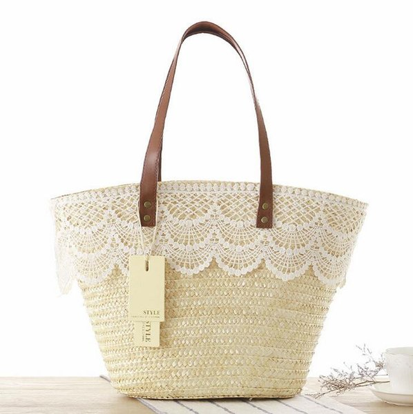 bdffc66ac7644 Factory wholesale brand bag new summer Japanese lace shoulder lace simple  bulk straw beach bags straw bag ladies summer holiday laptop bag