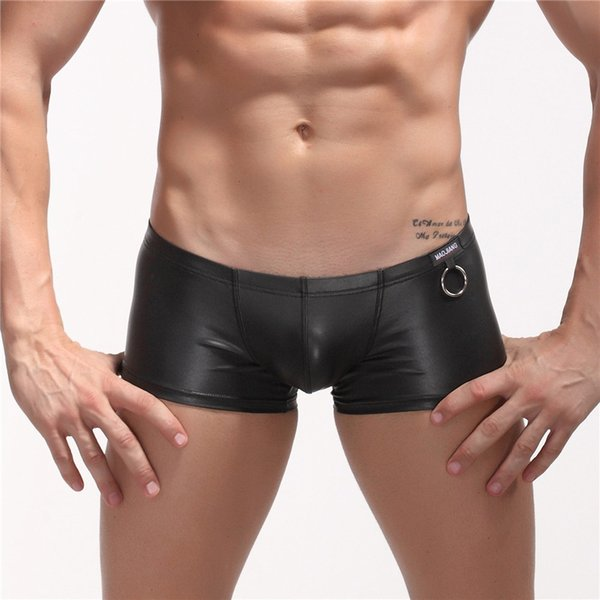 Men sexy underwear uomo gay male low rise black leather men's boxers fashion PU boyshort Trunks calzoncillos hombre Size S M L