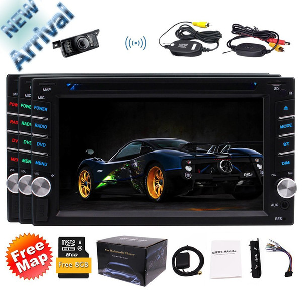 EinCar 6.2'' 2 Din Car DVD Player Stereo Radio Bluetooth GPS In-Dash Headunit USB AUX Color Buttons+Wireless Camera&Map Card&Remote Control