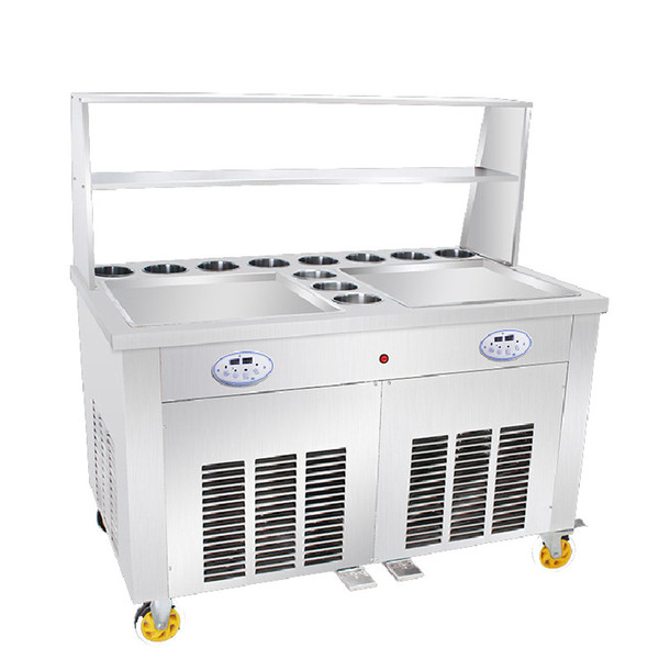 Beijamei Fast Freezing Double pan Rolling fried ice cream machine with 11 buckets Thailand fry ice cream pan
